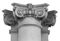 Capital of wall Ionic column Stock Photos