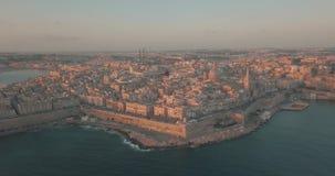 Capitale antica di vista aerea di panorama di La Valletta archivi video