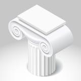 Capitale bianco isometrico della colonna antica Fotografia Stock Libera da Diritti