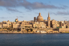 Capitale de La Valette de Malte, sous le soleil d'or Image stock