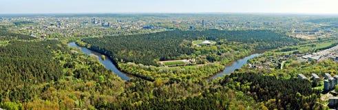 Capitale de ville de Vilnius de vue aérienne de la Lithuanie Image stock