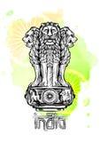 Capitale del leone di Ashoka nel colore indiano della bandiera Emblema dell'India Immagine Stock