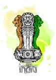 Capitale del leone di Ashoka nel colore indiano della bandiera Emblema dell'India Contesto di struttura dell'acquerello Immagini Stock Libere da Diritti