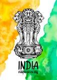 Capitale del leone di Ashoka nel colore indiano della bandiera Emblema dell'India Contesto di struttura dell'acquerello Immagine Stock Libera da Diritti