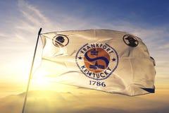 Capitale della città di frankfurter del Kentucky del tessuto del panno del tessuto della bandiera degli Stati Uniti che ondeggia  fotografia stock libera da diritti