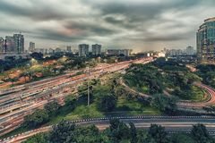 Capitale della città di Jakarta dell'Indonesia Fotografia Stock Libera da Diritti