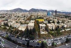 Capitale della città di Teheran dell'Iran in vista la vista aerea di Fotografie Stock