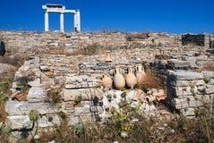 Capitale di colonna ionico, dettaglio architettonico sull'isola di Delos Immagini Stock