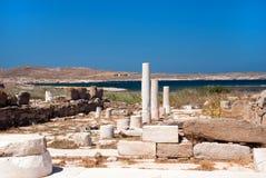 Capitale di colonna ionico, dettaglio architettonico sull'isola di Delos Fotografia Stock