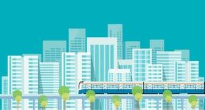 capitale downtown Treno elettrico trasporto Costruzione città illustrazione di stock