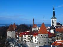 Capitale estone, paesaggio di Tallinn Immagini Stock