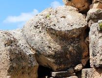 Capitale gigante di un tempio greco doric, Selinunte Fotografia Stock Libera da Diritti