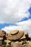 Capitale gigante di un tempio greco doric, Selinunte Immagini Stock Libere da Diritti