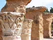 Capitales de columna del Corinthian de la piedra de Cartago Foto de archivo