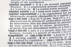 Capitalism capital account assets definition. Dictionary asset capitalist royalty free stock photo