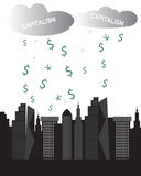 Capitalism clouds rich cityscape skyscrapers money raining. Capitalism concept Vector illustration. Clouds of capitalism raining down money currency on a modern Stock Image