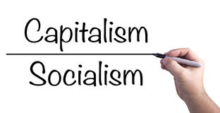 Capitalism Versus Socialism. Drawing the line, debate between what is considered capitalism and socialism royalty free stock photos