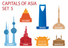 Capitals of Asia. Set 5. For you design Royalty Free Stock Photography