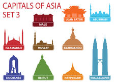 Capitals of Asia. Set 3. For you design Royalty Free Stock Photos