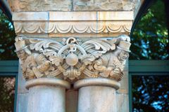 Capitals of columns and pilasters of buildings of eclectic architecture. Metz royalty free stock image