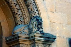 Capitals of columns and pilasters of buildings of eclectic architecture. Sculpture of the guarding lion Metz stock images