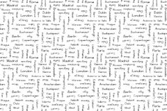 Capitals of Europe. Seamless background. Vector print. Capitals of Europe. Seamless background. Vector print Stock Photo