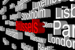 Capitals of European states as a 3D subtitles Royalty Free Stock Photography
