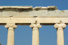 Capitals greek on Acropolis. Front view of ionic capitals of temple Erechtheum in Acropolis, Athens Stock Photography
