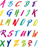 Capitals handdrawn. Coloured hand drawing capital alphabet Stock Image