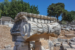 Capitals Ionic column. Part of the capitals Ionic columns in the temple of Apollo in Didim Stock Photos