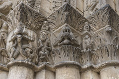 Capitals on Pilars Church Chatellerault. Capitals with devils on a pilar of the church of Chatellerault in France Stock Image