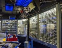 Capitan ` s brige在航空母舰的控制板 图库摄影