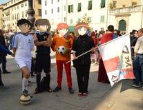 Capitan Tsubasas lag på Lucca komiker och lekar 2014 Arkivfoton