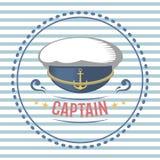 Capitani il vettore di tema dell'etichetta della navigazione nautica e marina del cappello royalty illustrazione gratis