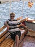 Capitani nella barca facente un giro turistico nel ohrid del lago, Macedonia Fotografie Stock