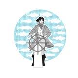 Capitano al timone della nave ENV, JPG Fotografia Stock Libera da Diritti