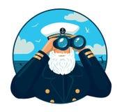 Capitano barbuto che guarda tramite il binocolo Fotografia Stock