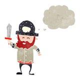 capitano barbuto del pirata del retro fumetto Fotografia Stock Libera da Diritti