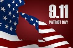 """Capitano che saluta la bandiera di U.S.A. per il Giorno dei Caduti Manifesto di giorno del patriota o †delle insegne """"l'11 sett illustrazione di stock"""