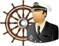 Capitano con la rotella Immagine Stock