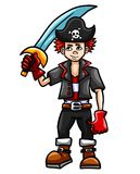 Capitano dai capelli rossi del ragazzo del pirata illustrazione di stock