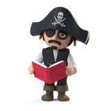 capitano del pirata 3d sta leggendo un libro illustrazione vettoriale