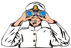 Capitano di blu marino con il binocolo Fotografie Stock