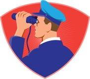 Capitano di marina Looking Binoculars Shield retro Immagine Stock