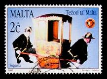Capitano-generale della sedia di berlina del ` delle cambuse, tesori di Malta Serie delle sedie di berlina, circa 1997 Immagini Stock
