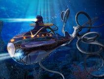 Capitano Nemo Nautilus Submarine Attack illustrazione di stock