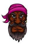 Capitano o marinaio arrabbiato del pirata del fumetto Fotografia Stock Libera da Diritti