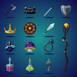 Capitaux légendaires Ensemble d'articles et de ressource magiques pour le jeu d'imagination d'ordinateur Icônes d'isolement de ba illustration stock