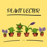 Capitaux plein HD de vecteur de fleur d'usine illustration stock