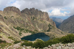 The Capitellu Lake from GR20 trail, Corse, France. Royalty Free Stock Photography